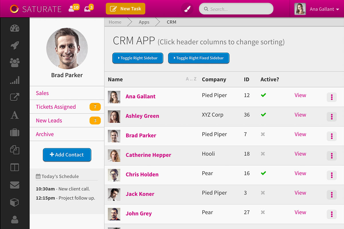 Saturate CRM UI screenshot